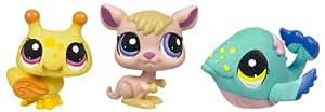Hasbro Littlest Pet Shop Pack 3 Pet Shop 25844 - Set de 3 mascotas de juguete (abeja, canguro, ballena)