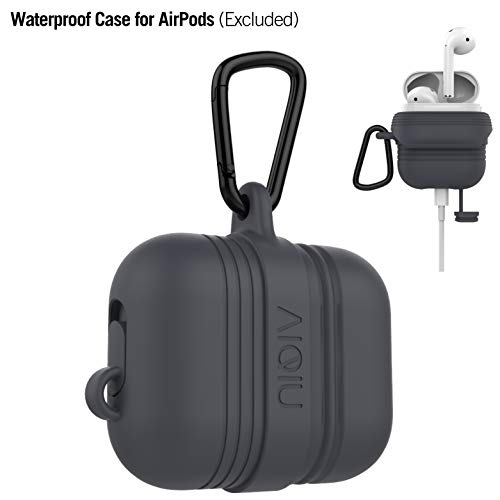 AirPods Case, AIQIU Waterproof Air pods Holder Shock Resistant Anti-Lost Protective Silicone Cover for Apple AirPods Accessories (Slate Gray)