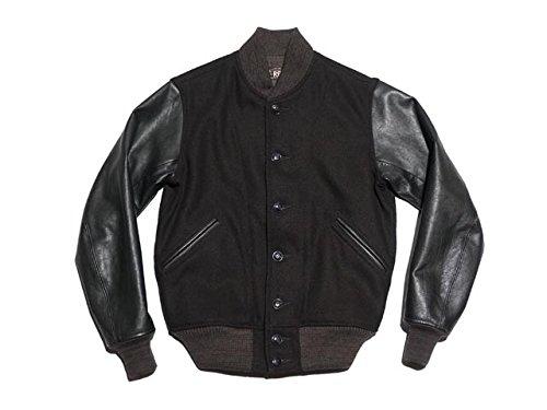 RRL ダブルアールエル Leather Sleeve Twill Jacket レザー スリーブ ツイル ジャケット(BLACK) B076P4QX6Z   S