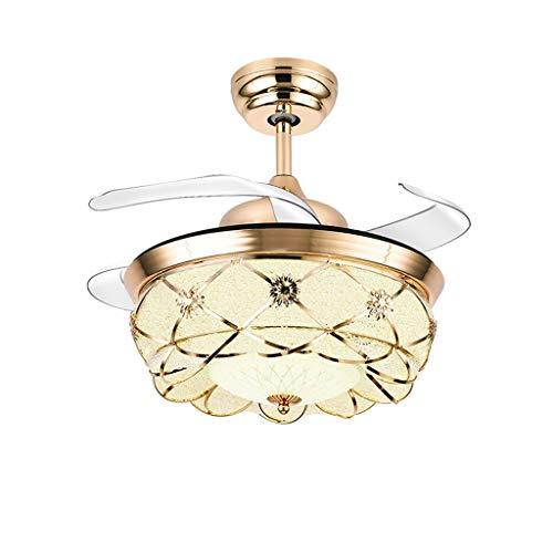 Outdoor Ceiling Fan Light European Restaurant Household Charged Fan Chandelier Bedroom Living Room Ceiling Fan Light Invisible Fan Light Ceiling Fan Light Kits ( Color : A , Size : 36in-Wall control )