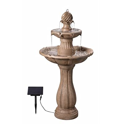 "Kenroy Home 51009SNDST Frost Outdoor Tiered Solar Fountain, 44 Inch Height Sandstone - Dimensions: 44"" Height, 22 inch diameter Pump access door: routine pump maintenance and water flow adjustments can be managed without disassembling or draining the fountain thanks to a removable pump access door Solar powered: Solar panel allows this fountain to be placed anywhere in your outdoor space that the panel can receive direct sunlight - patio, fountains, outdoor-decor - 414004GcN6L. SS400  -"