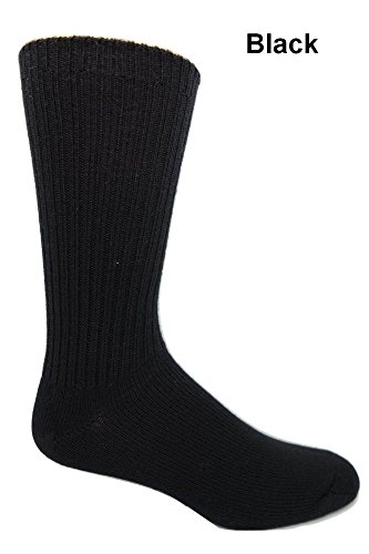 96% Merino Wool Non-binding Casual Socks (3 Pairs) in Black 8-12