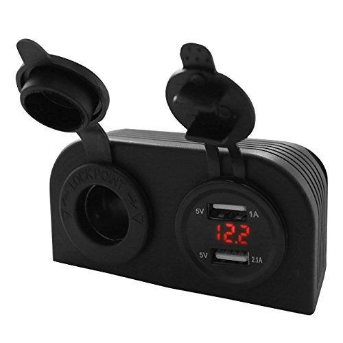 GraceMe Dual 5V USB Car Charger Car Cigarette Lighter Socket Splitter DC 12V 24V Power Supply Adapter Outlet + Digital Voltmeter (Attached vertical installation-Red)