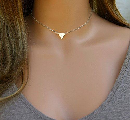 Amber Triangle Pendant (Customized Triangle Letter Necklace, Initial Necklace, Dainty Gold Triangle Pendant, Monogram Gift, Geometric Jewelry, 14k Gold Fill, Sterling Silver, Rose Gold)