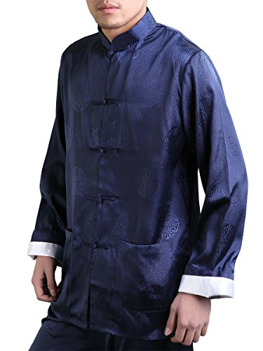 Bitablue Men's Enter the Dragon Chinese Clothing Shirt with Free Matching Pants (Large, Navy blue)