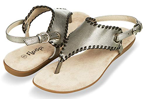 Floopi Sandals for Women | Cute, Open Toe, Wide Elastic Design, Summer Sandals| Comfy, Faux Leather Ankle Straps W/Flat Sole, Memory Foam Insole (11, Pewter-511)