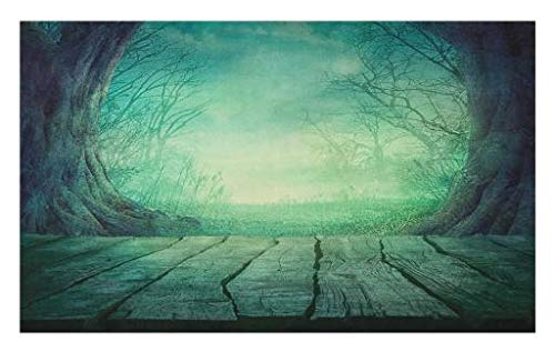 Lunarable Gothic Doormat, Spooky Scary Dark Fog Forest with Dead Trees and Wooden Table Halloween Horror Theme Print, Decorative Polyester Floor Mat with Non-Skid Backing, 30 W X 18 L inches, Blue