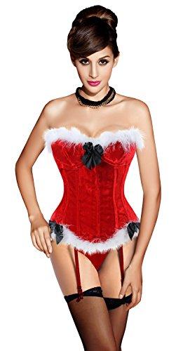 Charmian Women's Mrs Santa Claus Costume Christmas Velvet Push Up Valentines Bustier Overbust Corset Top with Garter Red Medium