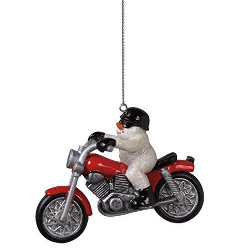 Snowman on a Motorcycle Ornament (Snowman Biker)