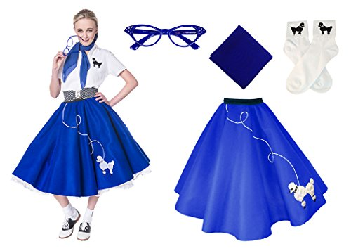 [Hip Hop 50s Shop Adult 4 Piece Poodle Skirt Costume Set Royal Blue XLarge/XXLarge] (Plus Size Grease Costumes)