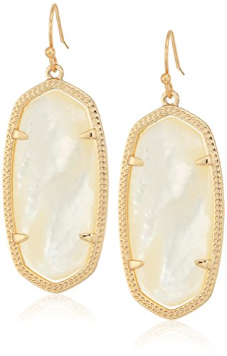 - Kendra Scott Signature Elle Earrings in Rose Gold Plated and Ivory Mother of Pearl