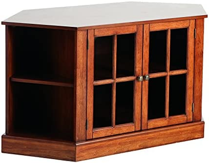 SEI Furniture Thomas Corner TV Storage Media Stand, Walnut