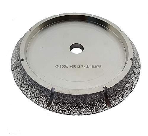 Bull Tile - 6 Inch Diamond Profile Wheel of 1/2'' Radius Bull Nose Fit on Tile Saw for Granite Marble Countertop (1/2'' Radius Demi Bull Nose)