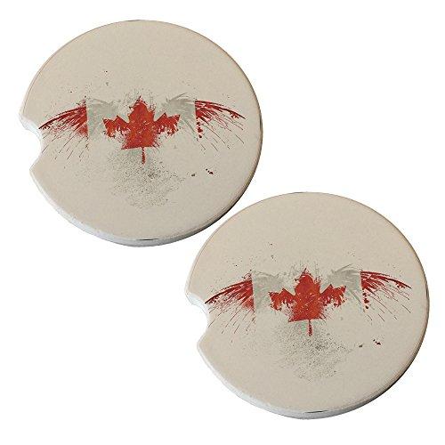 Canada Flag - Sandstone Car Drink Coaster (set of 2 - Flag Coaster Canada