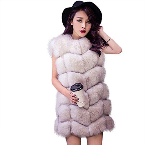Chaleco largo de mujer Chaleco de piel sintética (Blanco, chaleco de mujer-pequeño) Beige