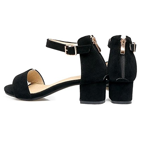Ancho Sandalias For de Mujer Correa Negro Tobillo Cremallera Moda Zapatos Chicas RAZAMAZA Tacon w0gq4X