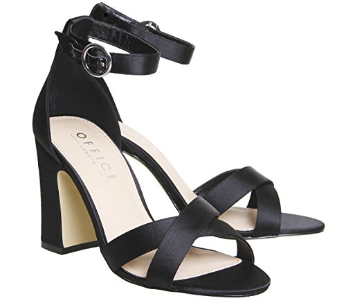 Office Healer Block Heel Sandal Black Satin Q7Uz3pCWiV