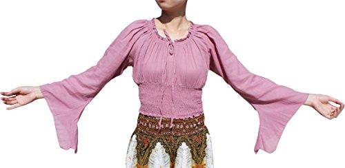 Pixie Smock (Raan Pah Muang Brand Sexy Crop Smock Top Medieval Ladies Light Cotton Pixie Shirt, Large, Lilac Pink)