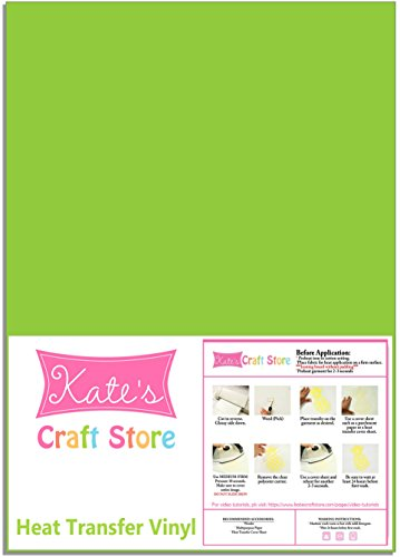 THREE (3) 12'' x 15'' sheets of Siser Easyweed Heat Transfer Vinyl (HTV) (Green Apple) by Kate's Craft Store