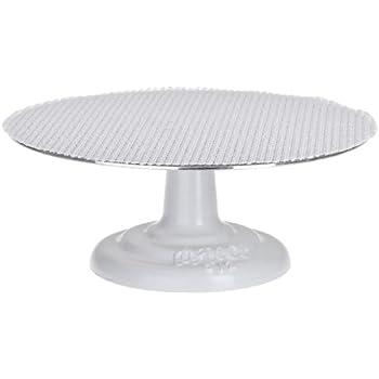 Ateco 612 Cast Iron and Non-slip Pad Cake stand, 12 inch, White