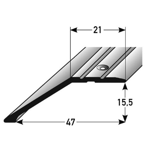 2 metros - Perfil de acabado // Guardacanto laminado 15,5 mm de elevaci/ón perforado 2 x 1 m aluminio anodizado