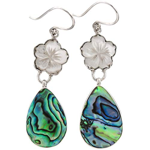 - 1 5/8'' Flower Mother of Pearl Shell PAUA Abalone 925 Sterling Silver Earring YE-1537
