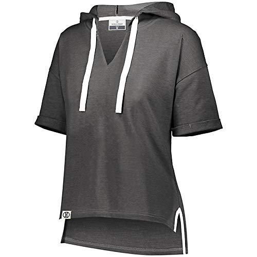 Holloway Sportswear Ladies Sophomore Short Sleeve Hoodie M Black Heather