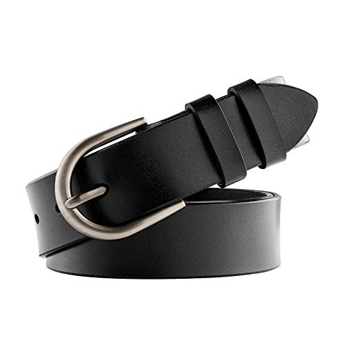 WHIPPY Genuine Leather Belt for Women Waist Belt with Brushed Alloy Buckle 1-black/Silver Buckle Medium ()