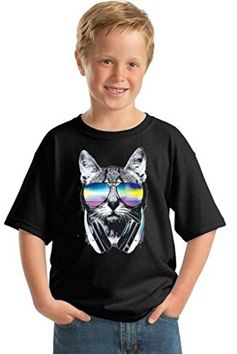 Youth Cat Music Sunglasses T-Shirt Gift For Kids Pet Face Animal Lover Shirt L - Cat T With Sunglasses Shirt