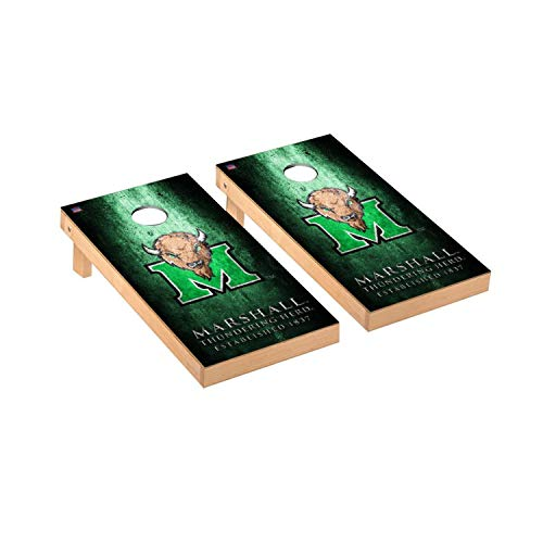 Victory Tailgate Regulation Collegiate NCAA Museum Series Cornhole Board Set - 2 Boards, 8 Bags - Marshall Thundering Herd