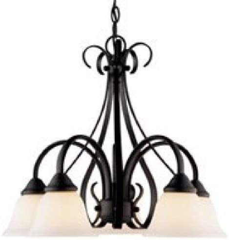 Boston Harbor F3-5C 7102130 Dimmable Chandelier, 5 60 13 W Medium A19 Cfl Lamp, Chain Hanging, Glass Shade, 18 in H, White