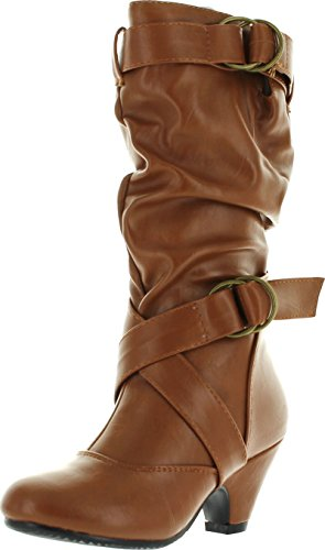 Pauline-39K Jr Girls Slouch Buckle High Heel Mid Calf Boots,