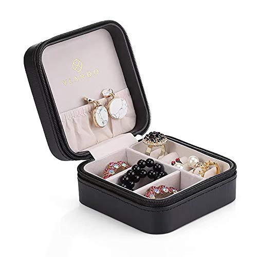 Vlando Small Faux Leather Travel Jewelry Box Organizer Display Storage Case for Rings Earrings Necklace (Black) from Vlando