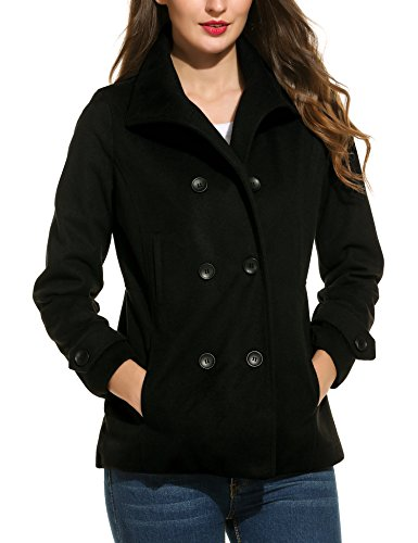 Finejo Womens Wool Peacoat Double Breasted Overcoat Long Sleeve Wool Jacket,X-Large,Black - Short Peacoat