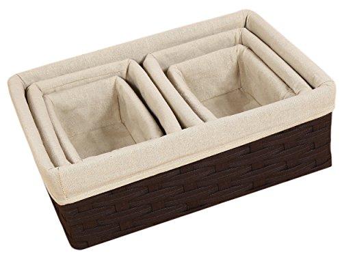 Nesting Basket - Utility Storage Baskets - 5 Piece Set - Various Sizes (Wicker Storage Baskets Small compare prices)