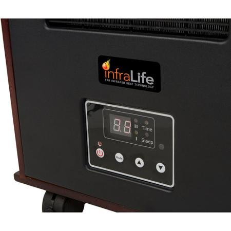 Brown Infrared Wood Heat Space Heater with Remote Control and Music via USB port with a PC, Apple iPhone or iPad | Perfect for Your Home and Office