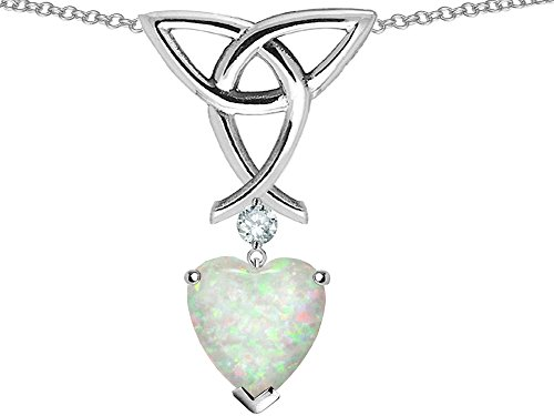 Star K Sterling Silver Celtic Knot Pendant Necklace wtih 8mm Heart Shape Stone