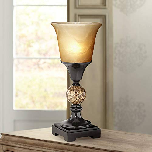 Faux Marble Glass Shades - George Traditional Uplight Accent Table Lamp 13 1/2