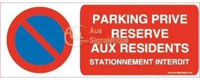 200x75 mm AUA SIGNALETIQUE Vinyl adh/ésif Autocollant Parking Priv/é R/éserv/é aux R/ésidents Stationnement Interdit