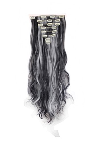 "FIRSTLIKE 24"" Curly Natural Black Mix Silver Grey Clip In Ha"