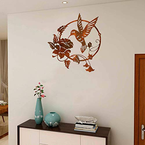 wSelio Metal Hummingbird Flower Wall Art Decor, Inspirational Wall Decor Sculpture Hanging Indoor Outdoor for Home, Bedroom, Living Room, Office, Garden (A-25x25cm)