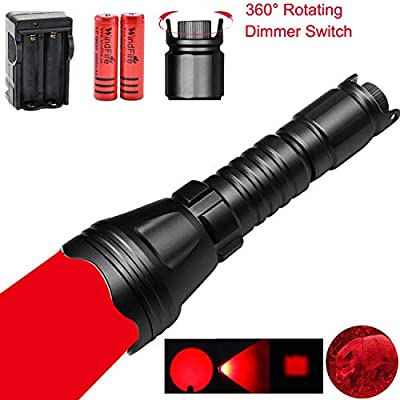 WINDFIRE New WF-158S Zoomable Red Hunting Light LED Dimmable Hunting Flashlight with Intensity Control Rheostat switch, Tactical Night Hunting Light for Coyote, Hog, Foxes, Bobcats, Varmints, Predator