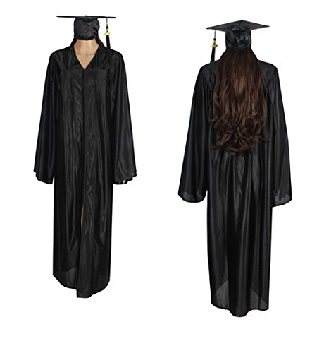 (2018 Year Charm) Middle & High School Graduation Caps Gowns Package Shiny Material Which Is The Best Choice For Photograph Happy Secret, Black, 51