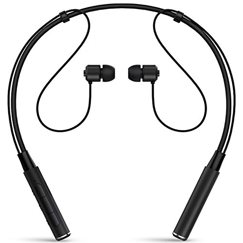 Bluetooth Headphones X-LIVE Wireless Stereo Earphones Noise Cancelling Neckband Bluetooth Headset in-Ear Sweatproof Sport Earbuds with Mic (Black)