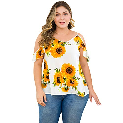 Off Shoulder Tops Loose Blouse,Londony Womens 3/4 Sleeve Cold Shoulder Tunic Top for Leggings Tunics Blouse Shirt Yellow