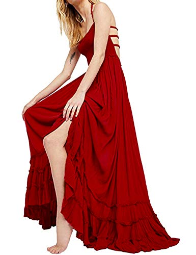 SEBOWEL Women's Sexy Blackless Halter Boho Ruffle Swing Flowy Maxi Party Dress Red-L