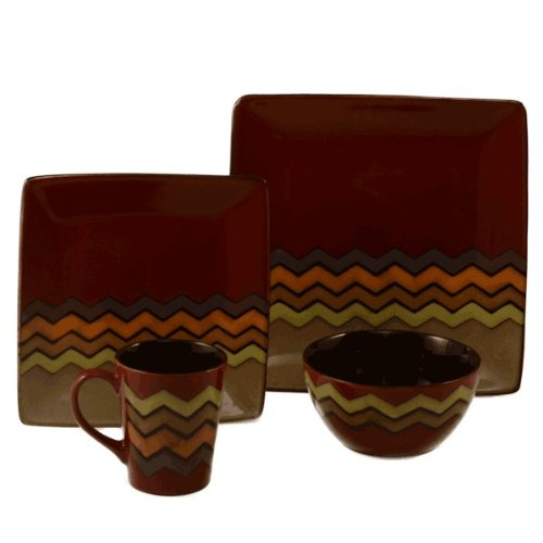 ColorUs China 412003 Thalia Square Coupe Stoneware 16-Piece Dinnerware Set, Dark Red, Service for 4 (Coupe Square Plate Set)