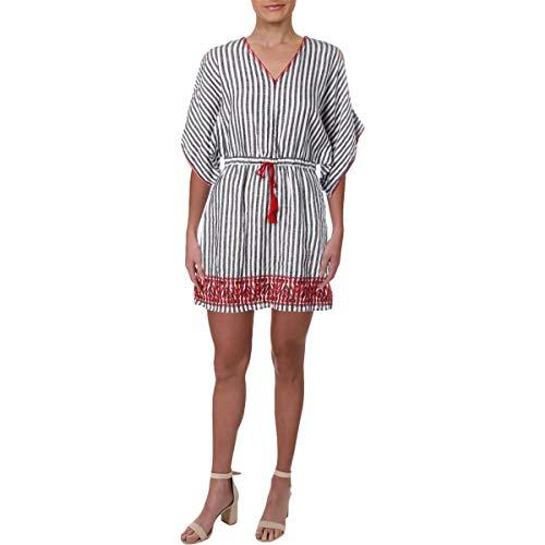 (LAUREN RALPH LAUREN Womens Linen Striped Casual Dress B/W 10 Black/White)