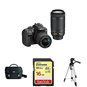 Nikon D3400 w/ AF-P DX NIKKOR 18-55mm VR & AF-P DX NIKKOR 70-300mm f/4.5-6.3G ED,DSLR Bag and AmazonBasics 60-Inch Lightweight Tripod with SanDisk Extreme 16GB SDHC UHS-I Card
