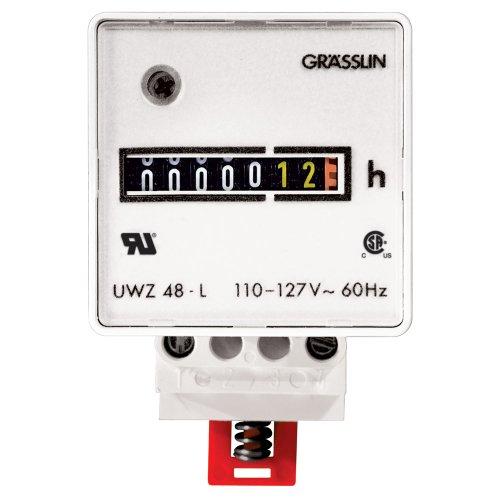 Grasslin by Intermatic UWZ48V-120U Screw Terminals, 120v, 60hz Ac Hour Meters Din Rail - Meter Din Mount